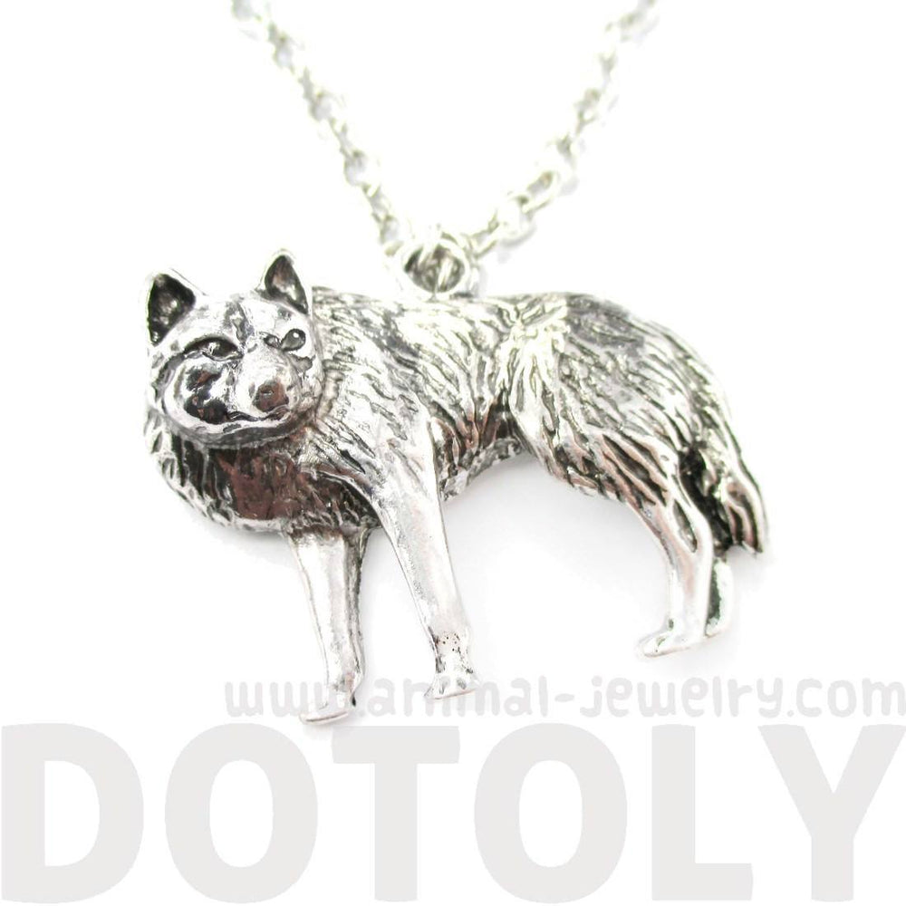 jewelry realistic pendant necklace fox in dotoly products shaped animal wolf silver