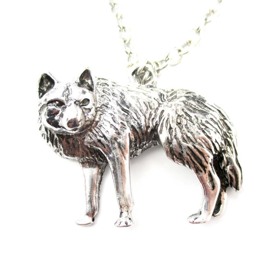 Realistic wolf fox shaped animal pendant necklace in silver dotoly 1 mozeypictures Images