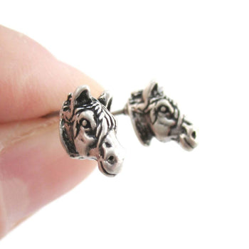 Realistic Zebra Face Shaped Stud Earrings in Silver