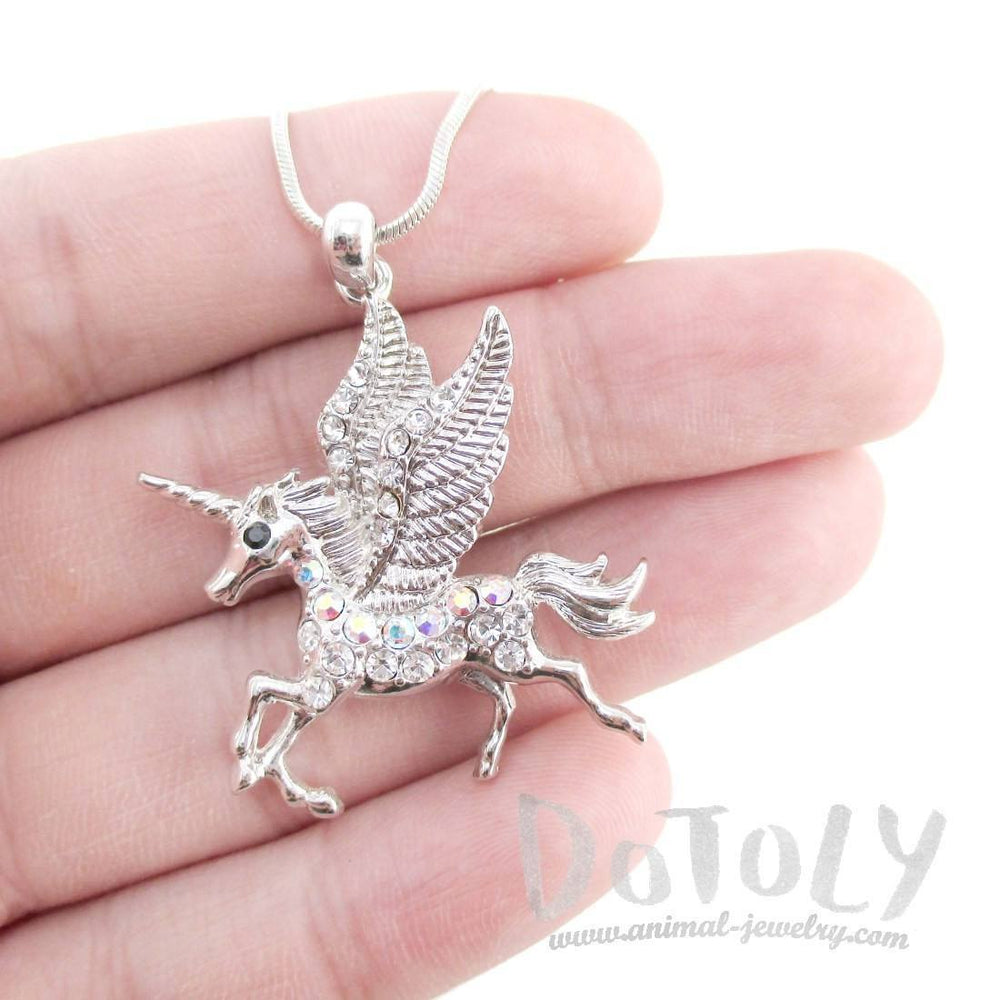 Rearing Unicorn with Wings Pendant Necklace in Silver with Rhinestones