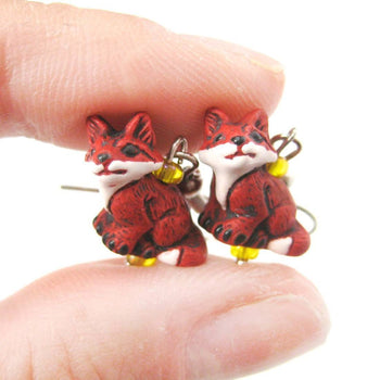 Tiny Fox Shaped Porcelain Ceramic Animal Dangle Earrings | Handmade