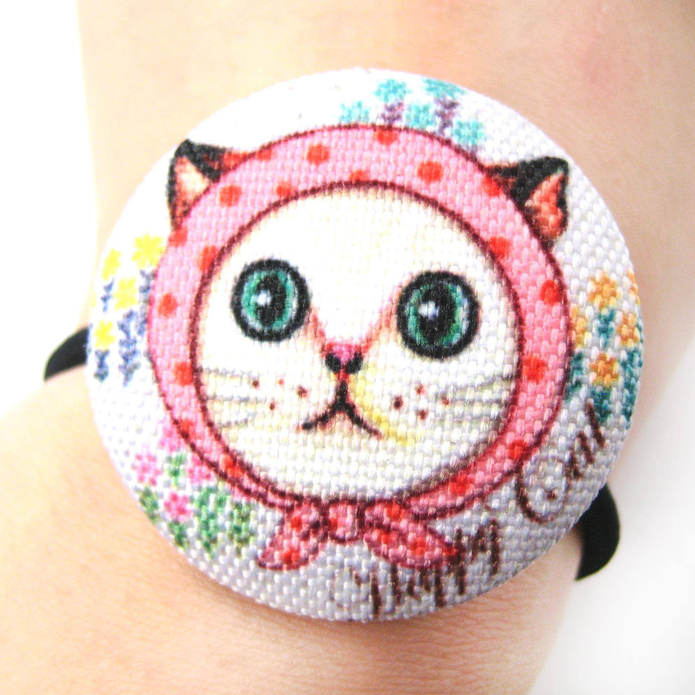 Red Riding Hood Kitty Cat Button Hair Tie Pony Tail Holder | DOTOLY