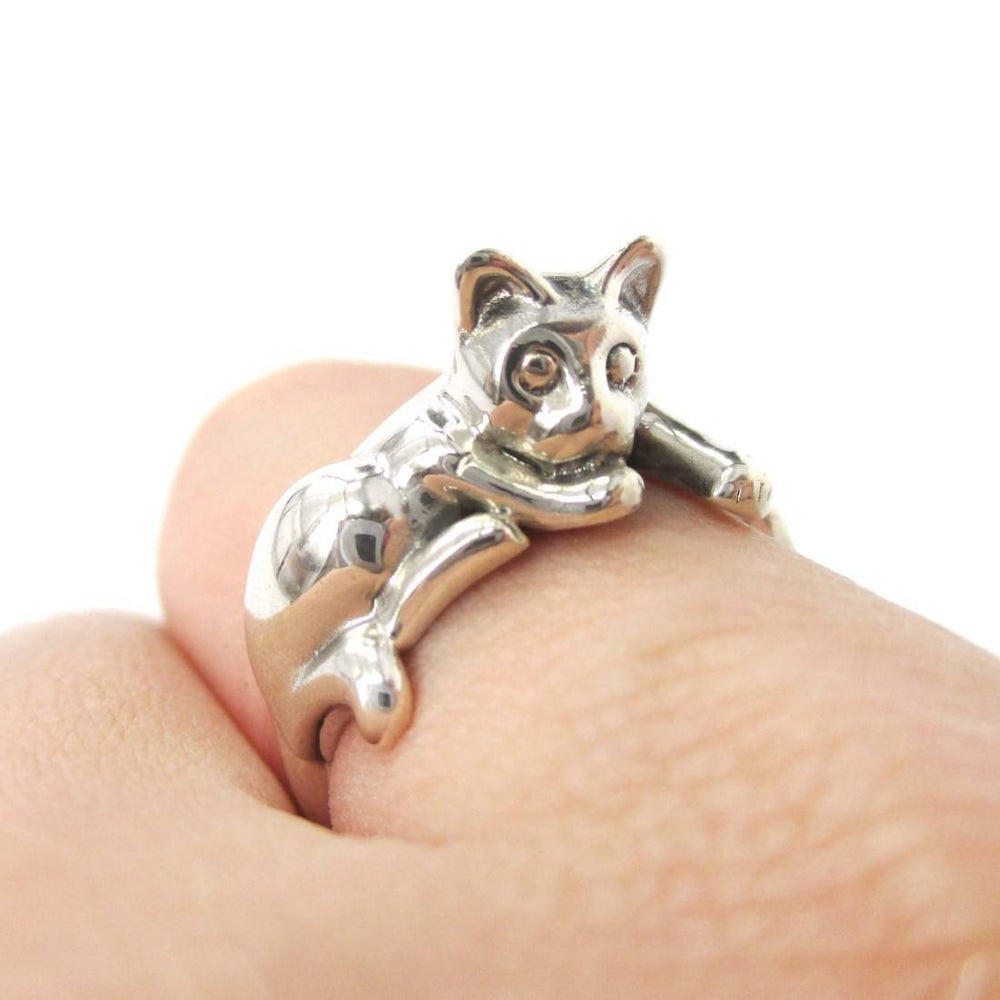 Relaxing Kitty Cat Shaped Animal Wrap Around Ring in 925 Sterling Silver | US Sizes 5 to 8.5 | DOTOLY