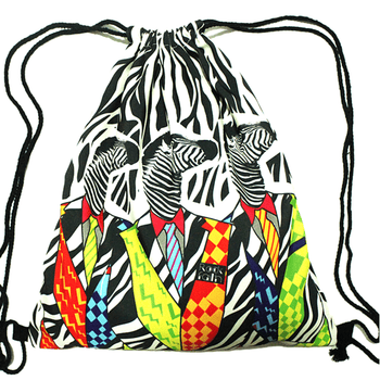 Retro Zebras in Neon Suits Animal Print Drawstring Cinch Backpack Bag for Women | DOTOLY | DOTOLY
