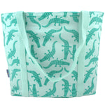 Green Crocodile Alligator Print Large Utility Market Tote Bag with Zip