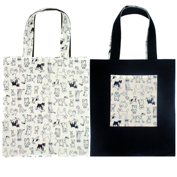 Super Cute Puppy Dog Animal Print Reversible Tote Bags for Women