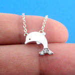 Rhinestone Bottlenose Dolphin Shaped Pendant Necklace in Silver