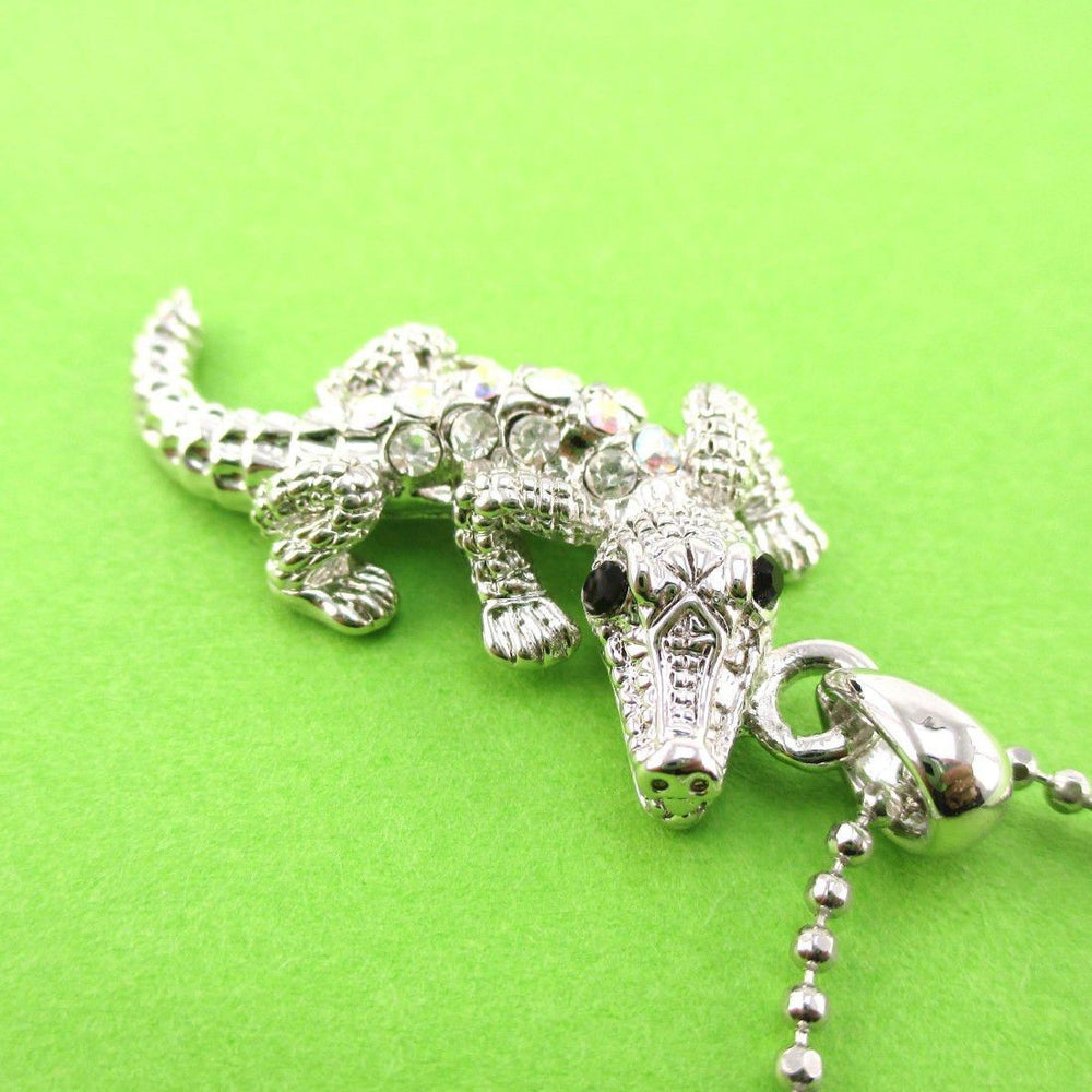 Rhinestone Crocodile Shaped Alligator Pendant Necklace in Silver | DOTOLY | DOTOLY