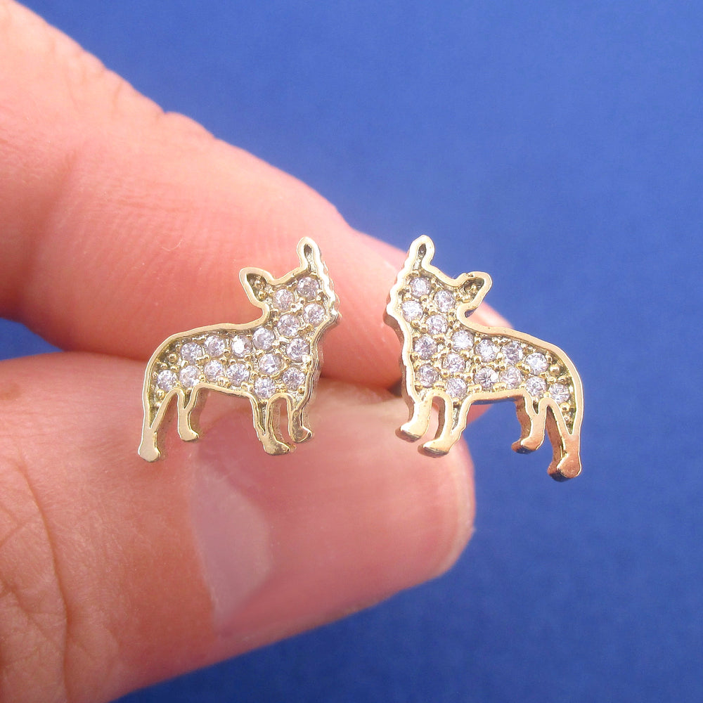 Rhinestone French Bulldog Puppy Shaped Silhouette Stud Earrings