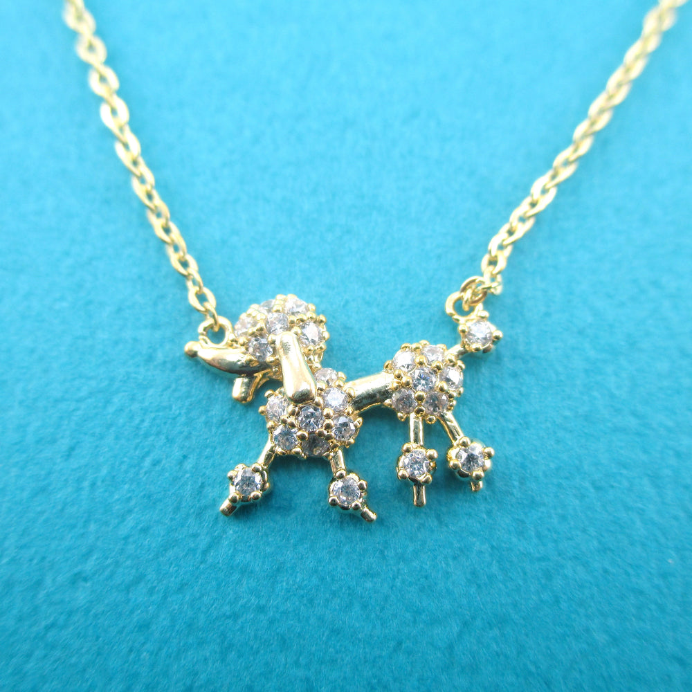 Rhinestone French Poodle Dog Shaped Pendant Necklace in Gold | DOTOLY
