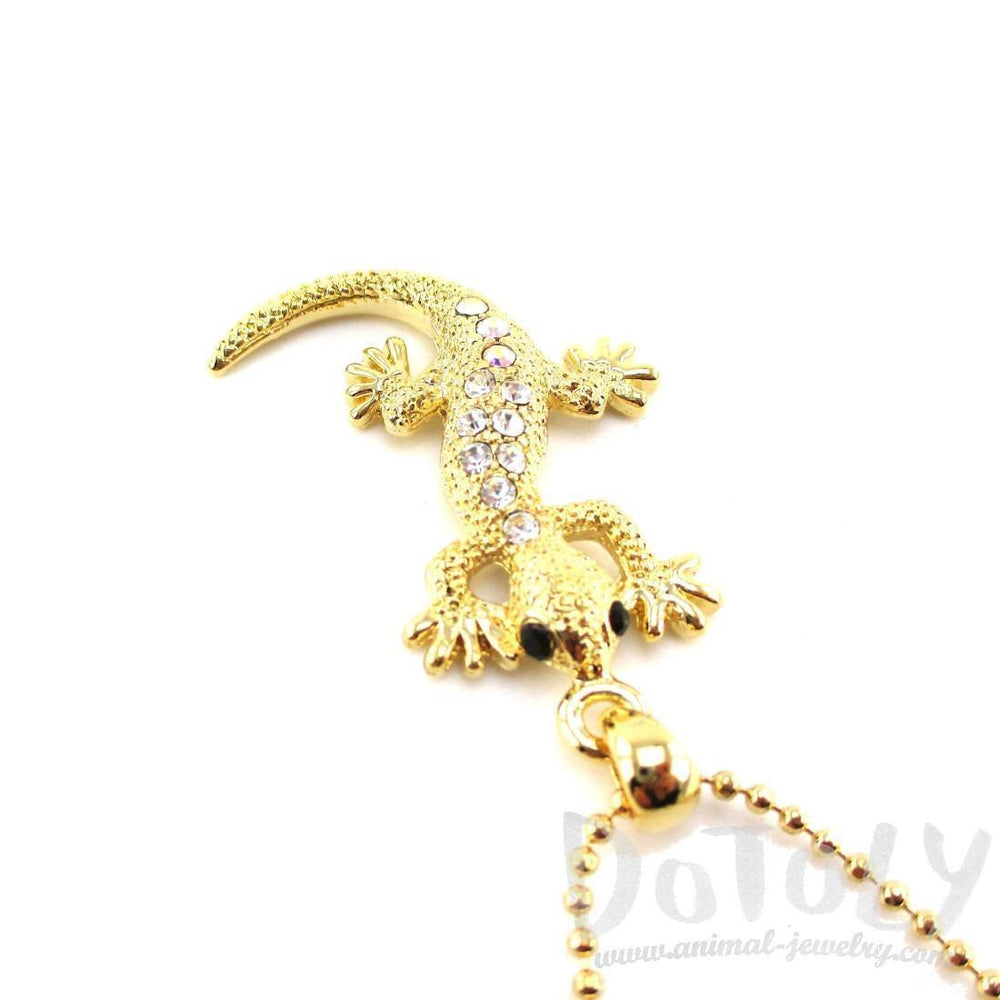Rhinestone Gecko Lizard Shaped Pendant Necklace in Gold – DOTOLY