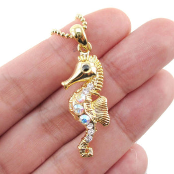 Rhinestone Seahorse Shaped Charm Necklace in Gold | Animal Jewelry | DOTOLY