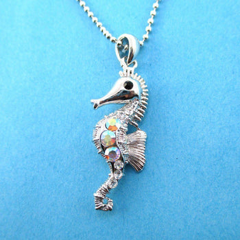 Rhinestone Seahorse Shaped Charm Necklace in Silver | Animal Jewelry | DOTOLY
