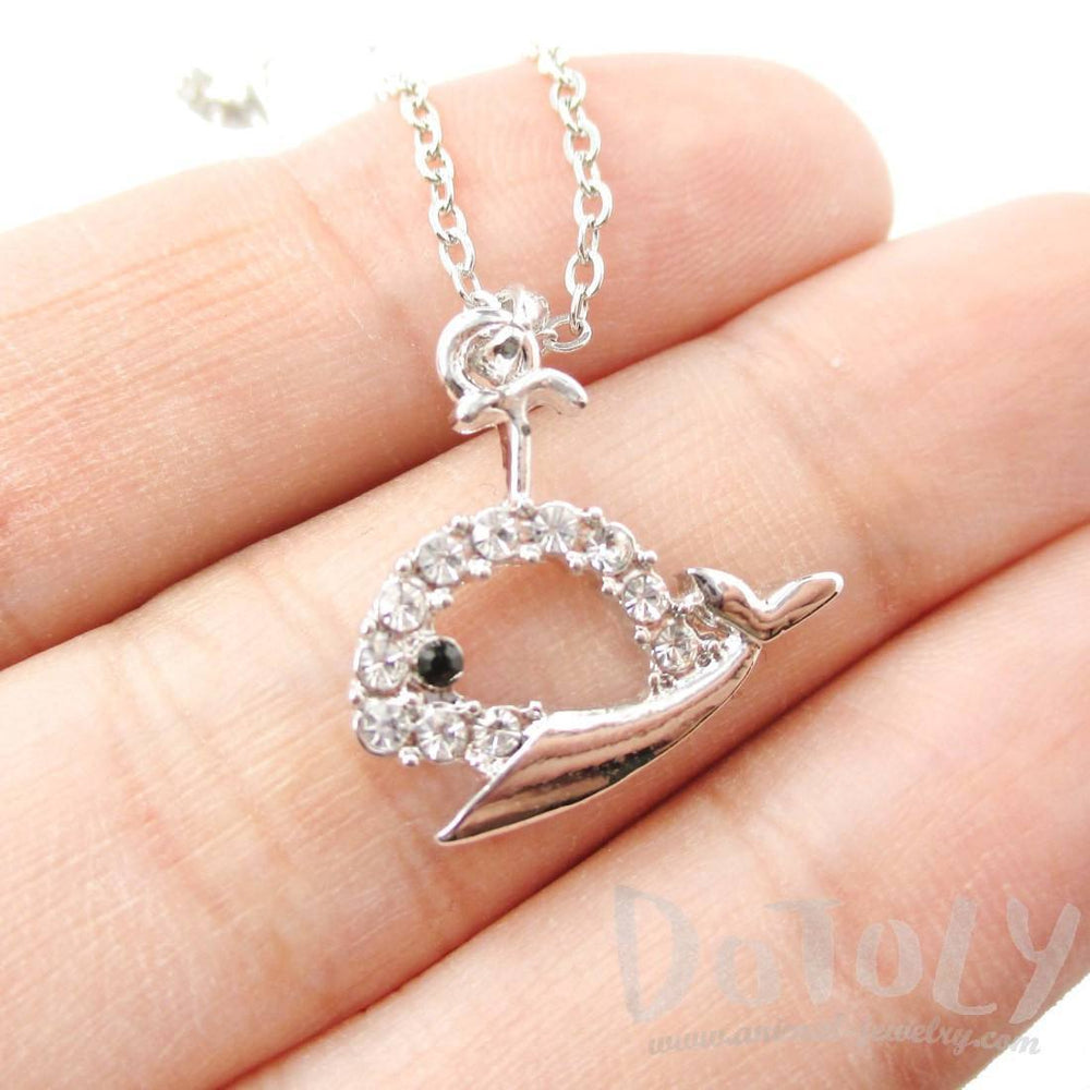 Rhinestone Whale Cut Out Shaped Pendant Necklace in Silver | DOTOLY | DOTOLY