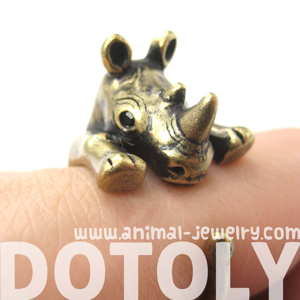 Rhino Rhinoceros Animal Wrap Around Ring in Brass - Size 5 to 10 | DOTOLY