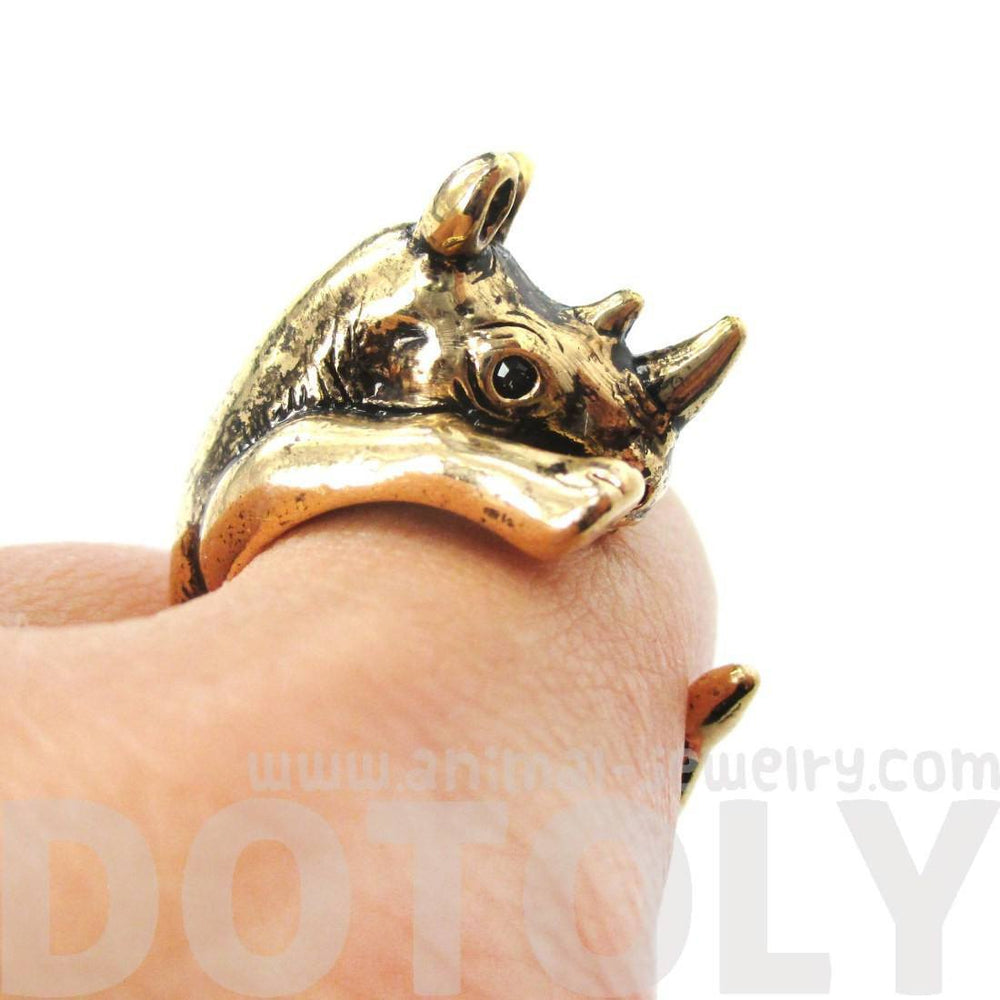 Rhino Rhinoceros Animal Wrap Around Ring in Shiny Gold | US Size 5 to 10 Available | DOTOLY