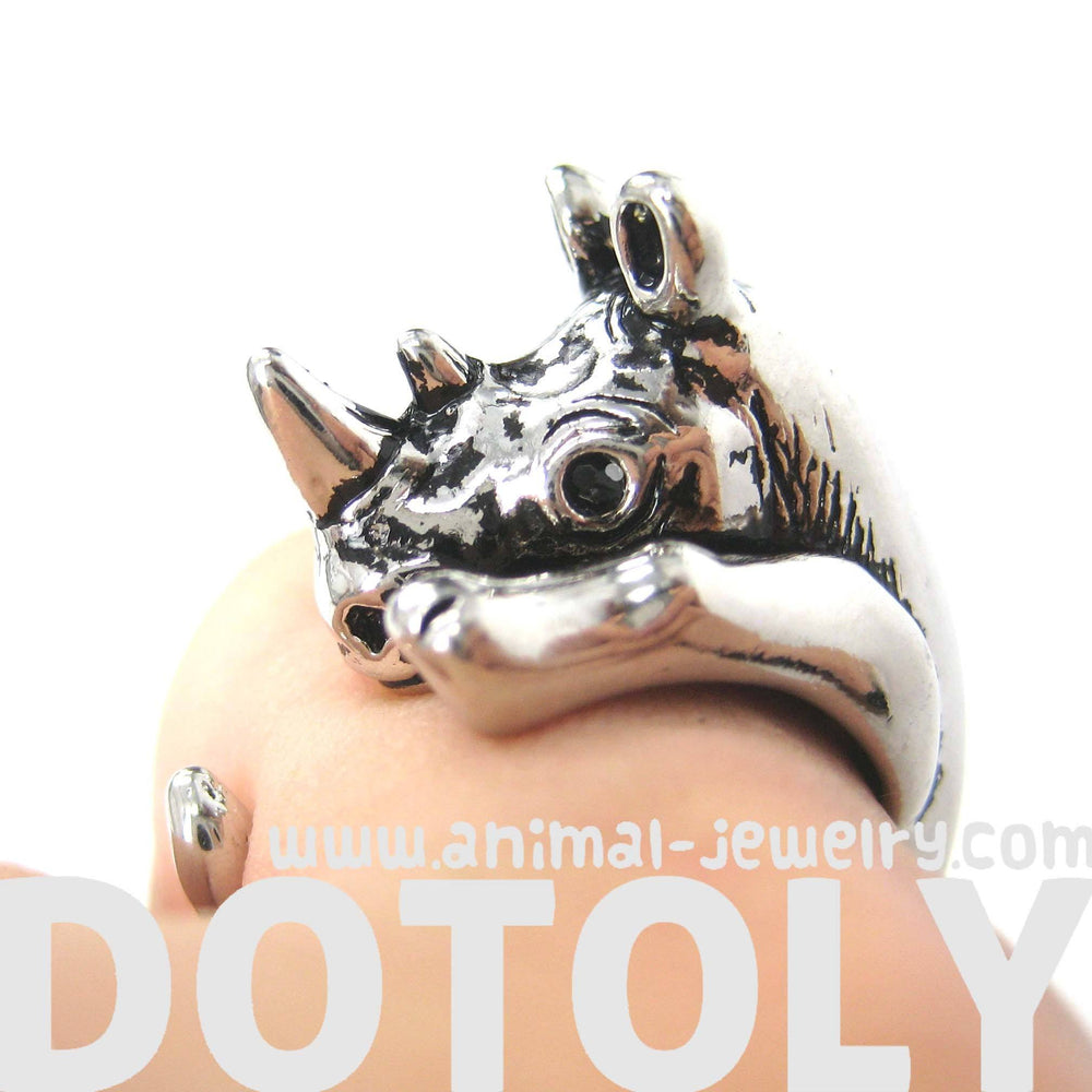 Rhino Rhinoceros Animal Wrap Around Ring in Shiny Silver | Size 5 to 10 | DOTOLY