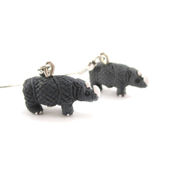 Rhino Rhinoceros Shaped Porcelain Ceramic Animal Dangle Earrings | Handmade | DOTOLY