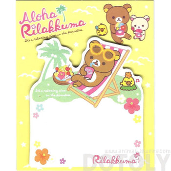 Rilakkuma Teddy Bear on a Beach Chair Shaped Adhesive Post-it Memo Pads | DOTOLY