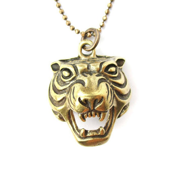 Roaring Tiger Face Shaped Animal Inspired Pendant Necklace in Brass | DOTOLY | DOTOLY