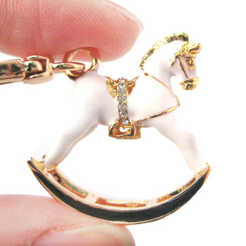 Rocking Horse Shaped Pendant Necklace in White and Gold | Limited Edition Jewelry | DOTOLY