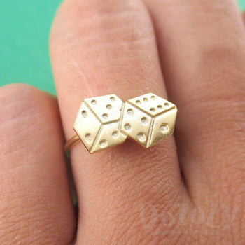 Rolling Dices Lucky Dice Shaped Adjustable Ring in Gold | DOTOLY