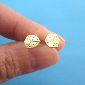 Rolling Dices Lucky Dice Shaped Allergy Free Stud Earrings in Gold