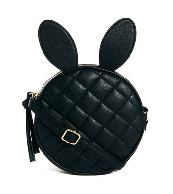 Round Bunny Rabbit Ears Shaped Quilted Cross Body Shoulder Bag in Black | DOTOLY