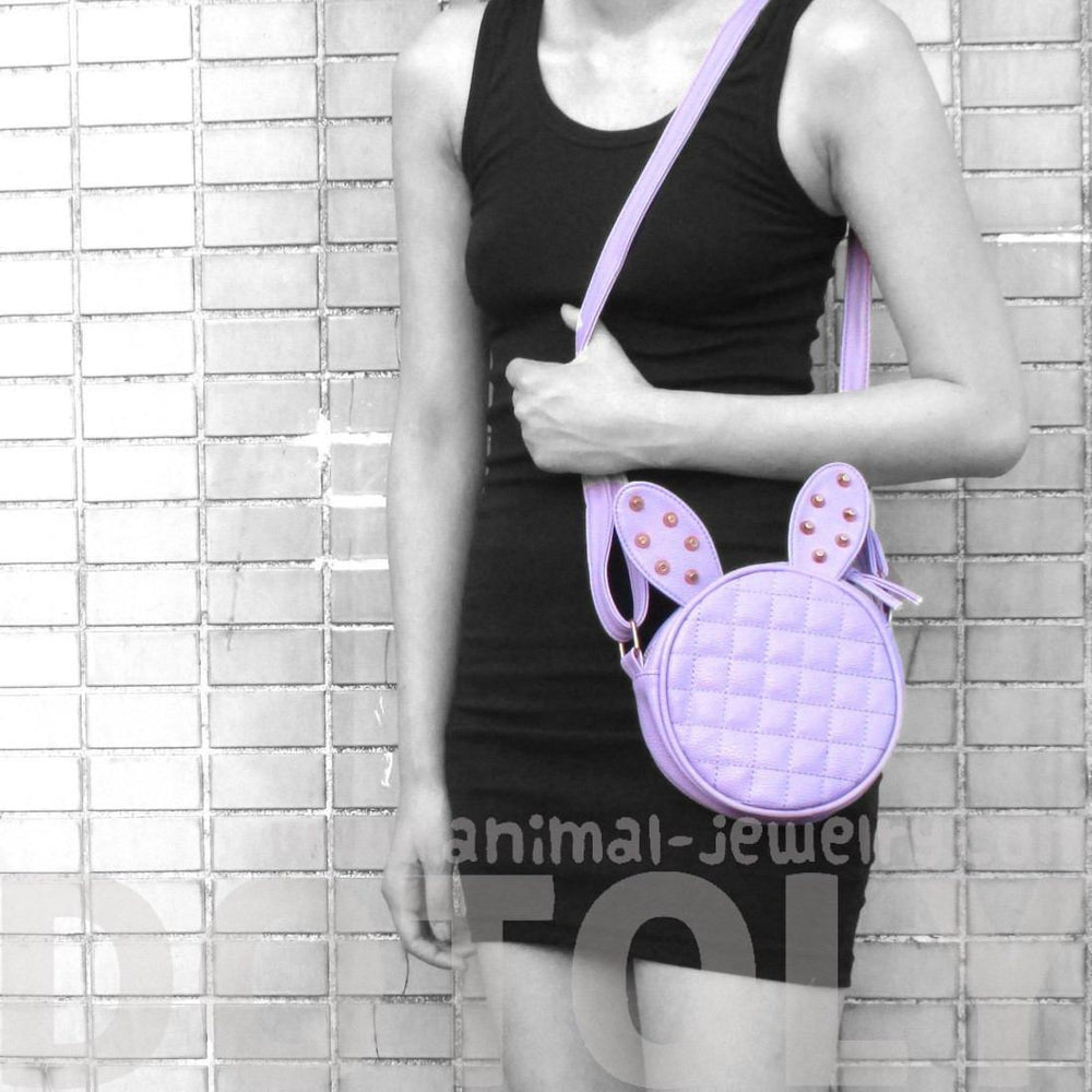 Round Bunny Rabbit Ears Shaped Quilted Cross Body Shoulder Bag in Purple with Studs | DOTOLY