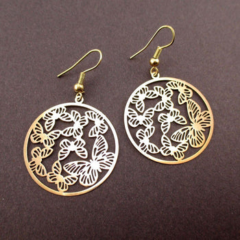 Round Butterfly Pattern Filigree Cut Out Shaped Dangle Earrings in Gold | DOTOLY | DOTOLY