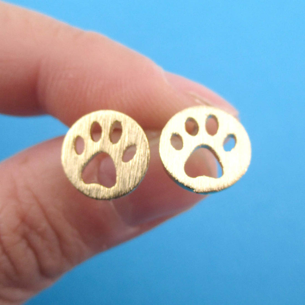 Round Paw Print Cut Out Shaped Stud Earrings in Gold | Animal jewelry