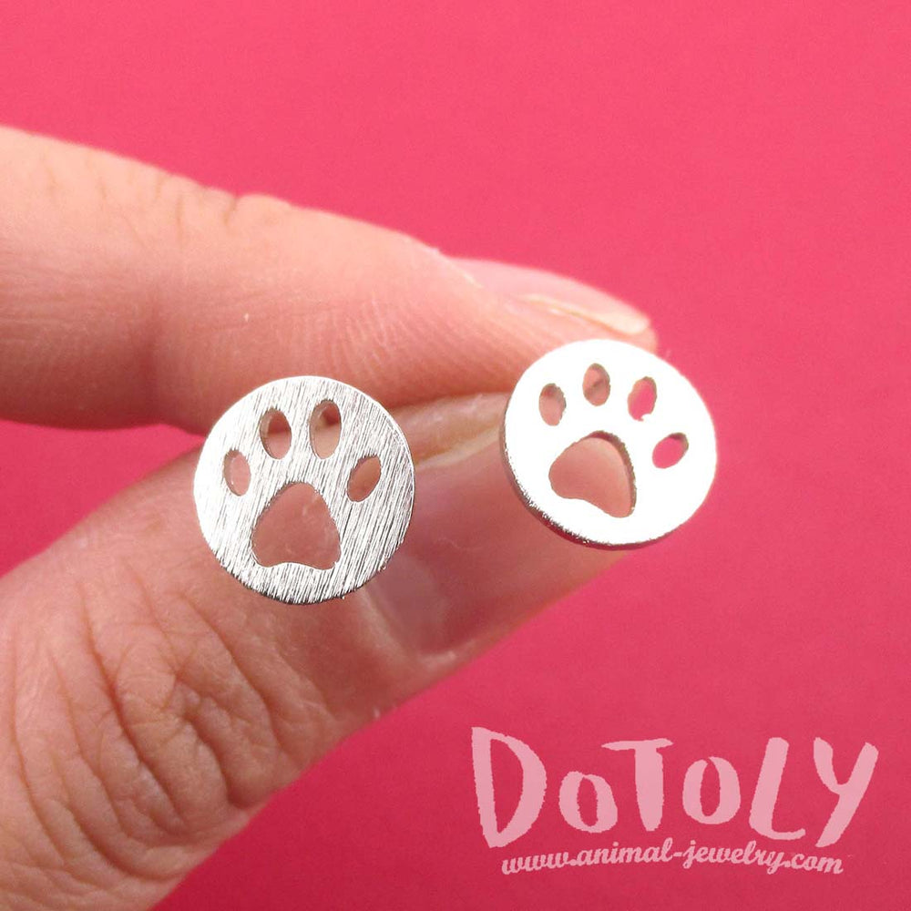 Round Paw Print Cut Out Shaped Stud Earrings in Silver | Animal jewelry