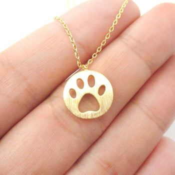 Round Puppy Paw Print Cut Out Shaped Pendant Necklace in Gold | Animal Jewelry | DOTOLY