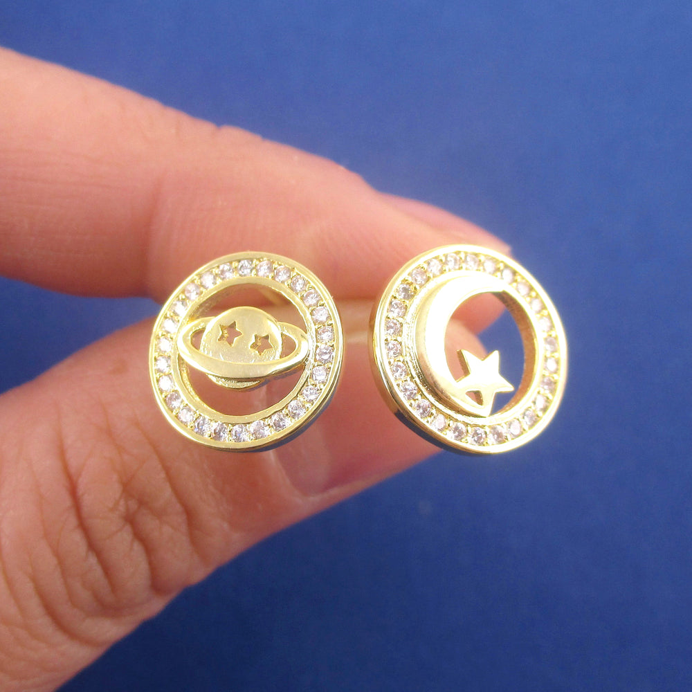 Round Space Themed Saturn Moon and Stars Rhinestone Stud Earrings in Gold
