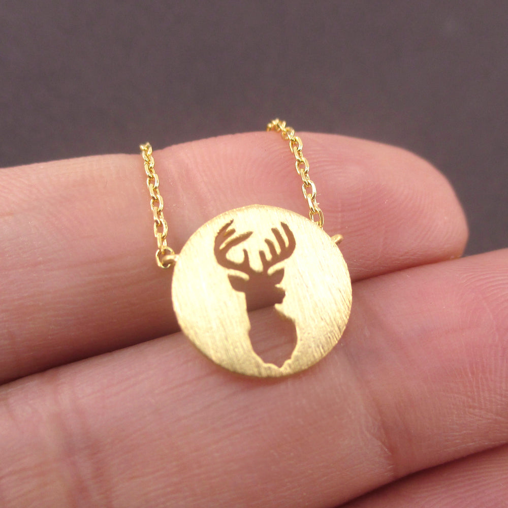 Round Stag Deer Trophy Silhouette Shaped Pendant Necklace