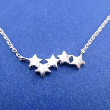 Row of Stars Constellations Shaped Space Themed Pendant Necklace