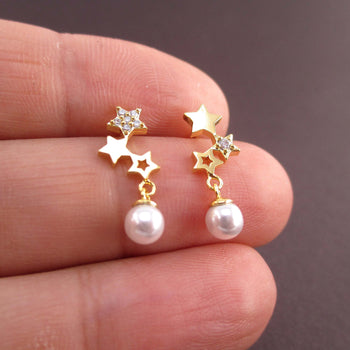 Row of Stars Shaped Space Themed Dangle Earrings in Gold with Pearls
