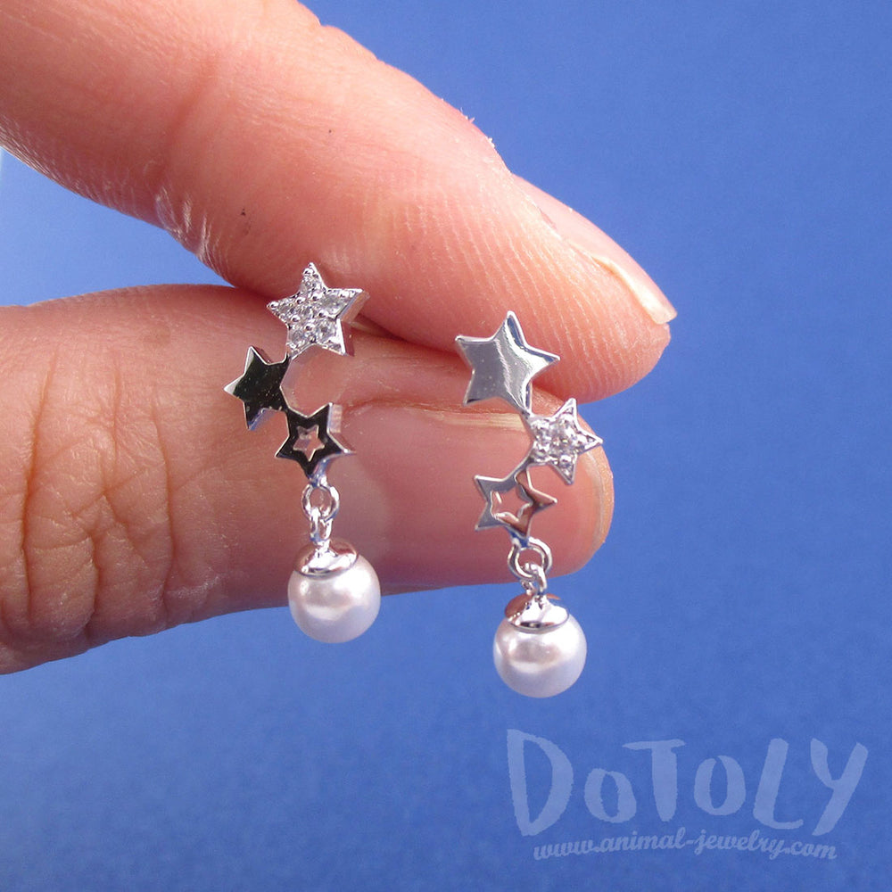 Row of Stars Shaped Space Themed Dangle Earrings in Silver with Pearls