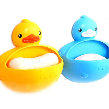 Rubber Ducky Shaped Soap Dish Bathroom Organizer Trinket Holder in Yellow or Blue | DOTOLY