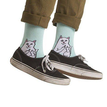 Rude Kitty Cat Giving the Finger Print Long Socks in Mint Blue