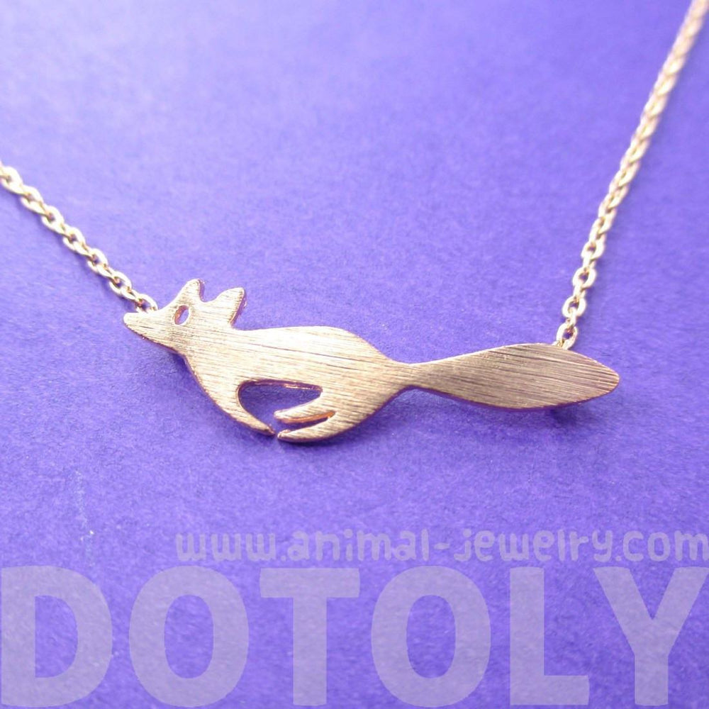 Running Fox Shaped Silhouette Pendant Necklace in Rose Gold | Animal Jewelry | DOTOLY