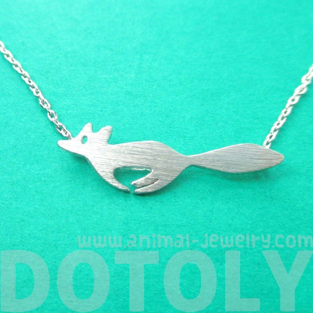 Running Fox Shaped Silhouette Pendant Necklace in Silver | Animal Jewelry | DOTOLY