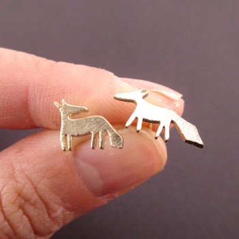 Running Red Fox Silhouette Shaped Stud Earrings in Gold | DOTOLY