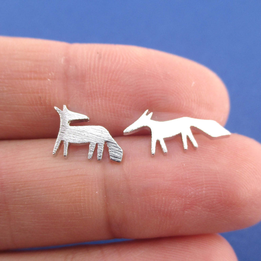 Running Red Fox Silhouette Shaped Stud Earrings in Silver | DOTOLY