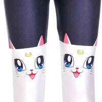 Sailor Moon Artemis White Kitty Cat Print Stretch Leggings for Women | DOTOLY | DOTOLY