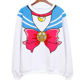 Sailor Moon Cosplay Sailor Outfit Graphic Print Crew Neck Pullover Sweater in White | DOTOLY