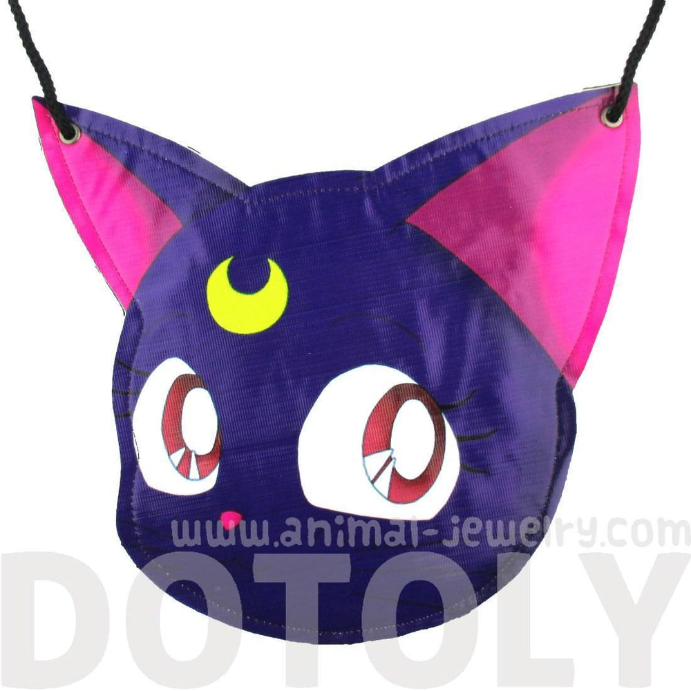 Sailor Moon Luna Kitty Cat Face Shaped Vinyl Cross Body Bag | DOTOLY