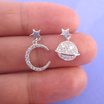 Saturn Moon and Stars Sterling Silver Rhinestone Drop Stud Earrings