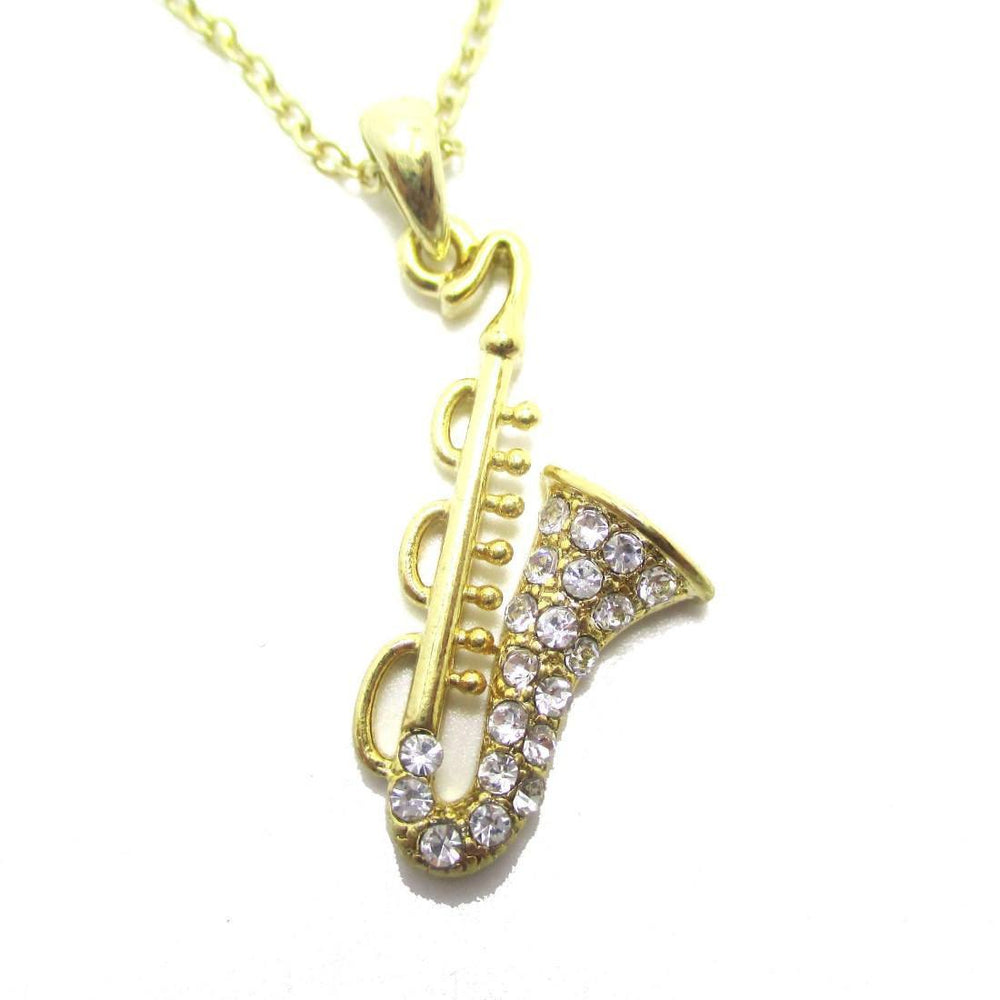 Saxophone Instrument Shaped Rhinestone Pendant Necklace in Gold | For Music Lovers | DOTOLY