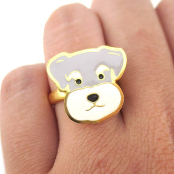 Schnauzer Puppy Dog Face Shaped Adjustable Animal Ring | Limited Edition | DOTOLY